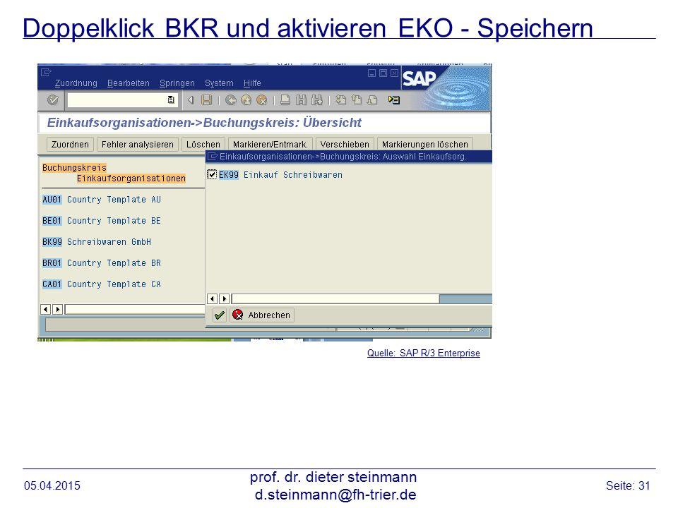 Doppelklick BKR und aktivieren EKO - Speichern