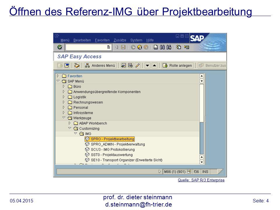 Öffnen des Referenz-IMG über Projektbearbeitung