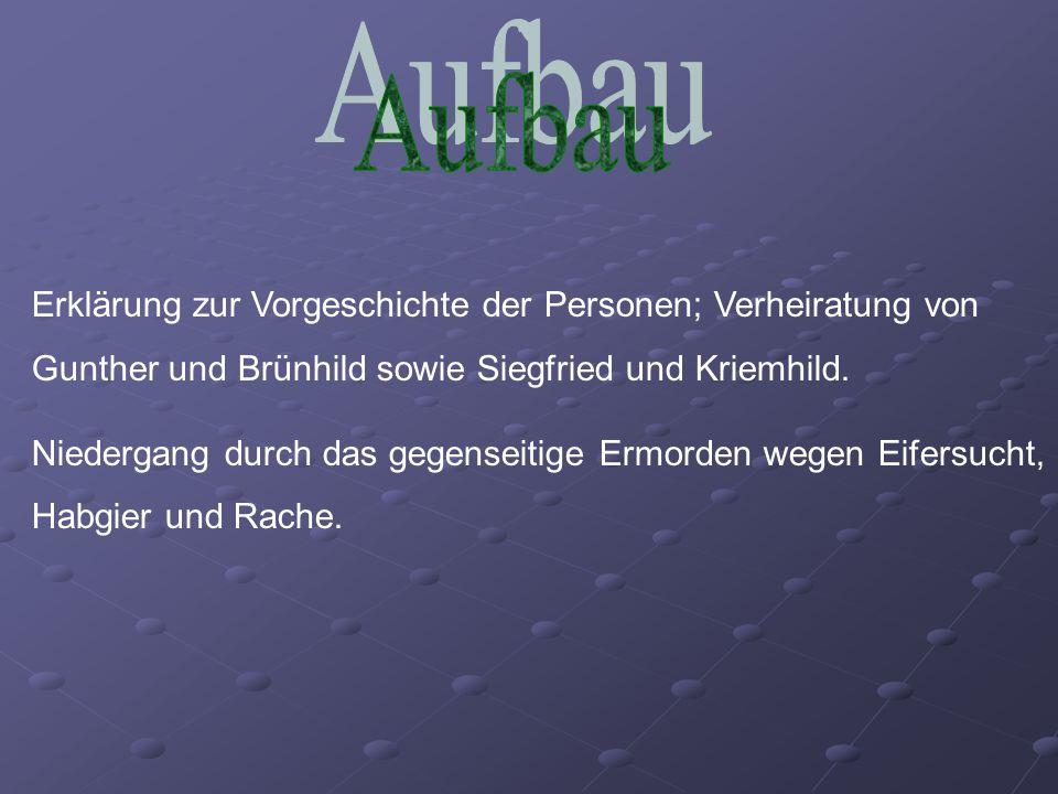 Aufbau Erklärung zur Vorgeschichte der Personen; Verheiratung von Gunther und Brünhild sowie Siegfried und Kriemhild.