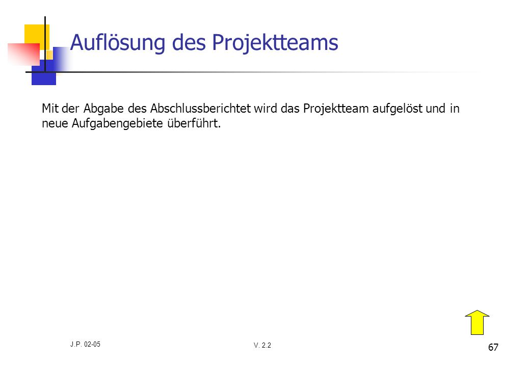 Auflösung des Projektteams