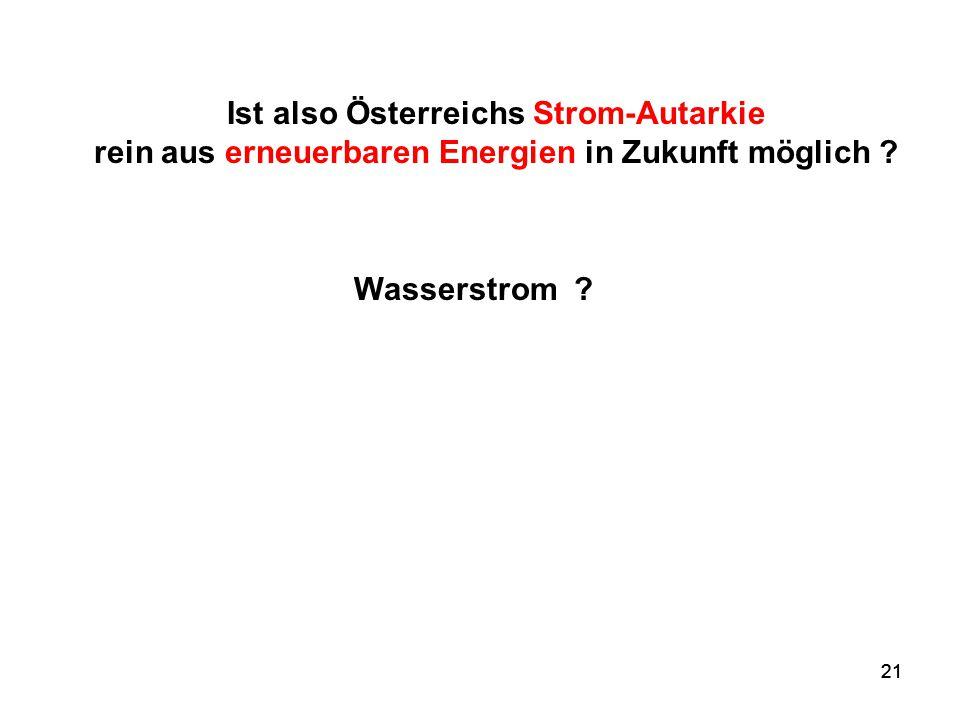 Ist also Österreichs Strom-Autarkie rein aus erneuerbaren Energien in Zukunft möglich
