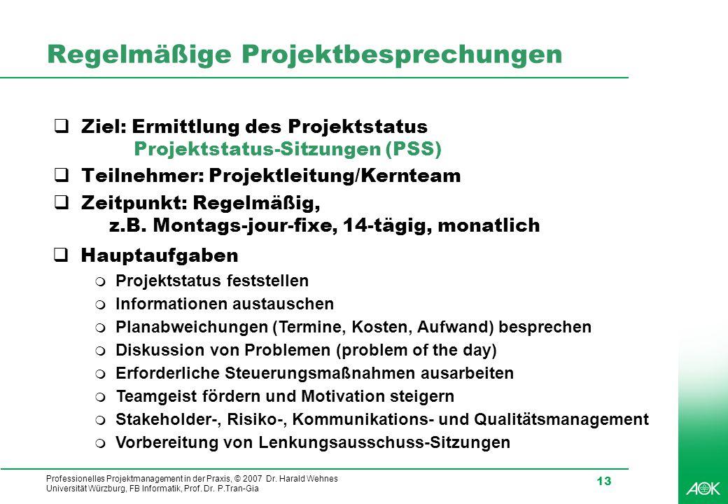 Regelmäßige Projektbesprechungen