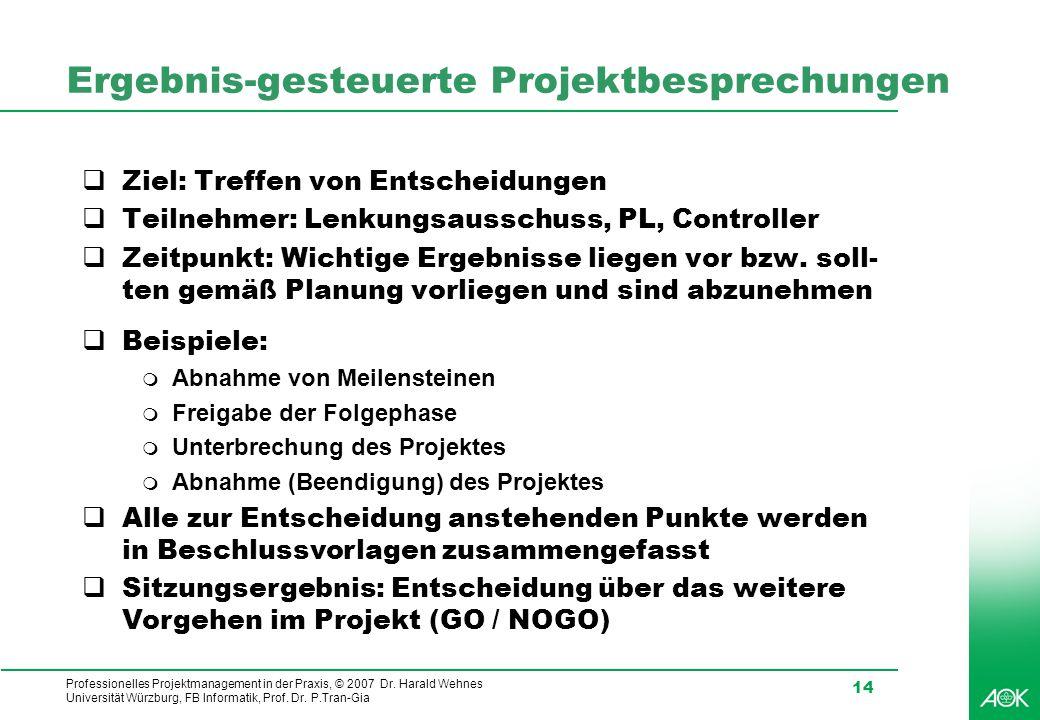 Ergebnis-gesteuerte Projektbesprechungen