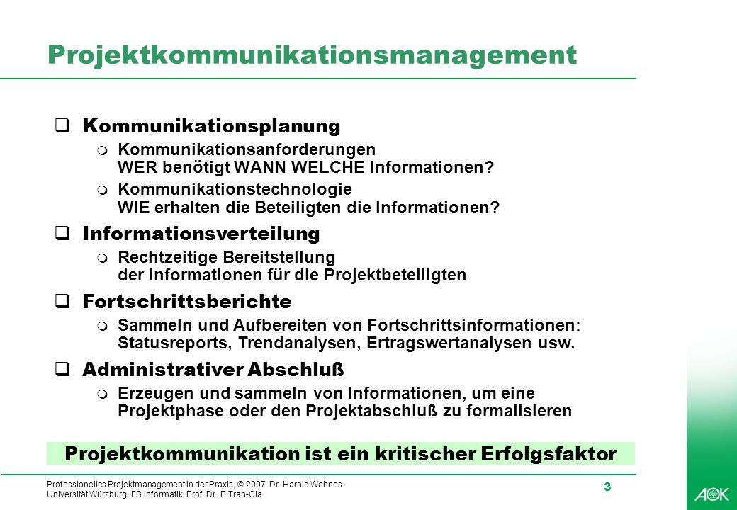 Projektkommunikationsmanagement