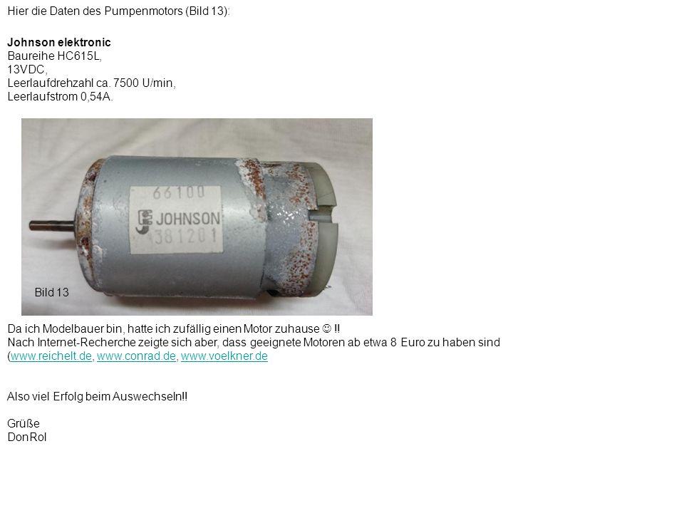 Hier die Daten des Pumpenmotors (Bild 13):