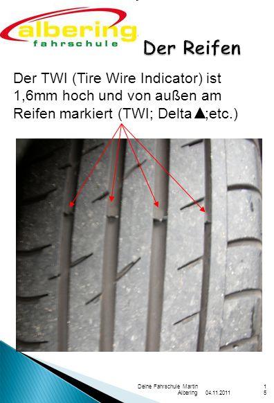 Der Reifen Der TWI (Tire Wire Indicator) ist 1,6mm hoch und von außen am Reifen markiert (TWI; Delta ;etc.)