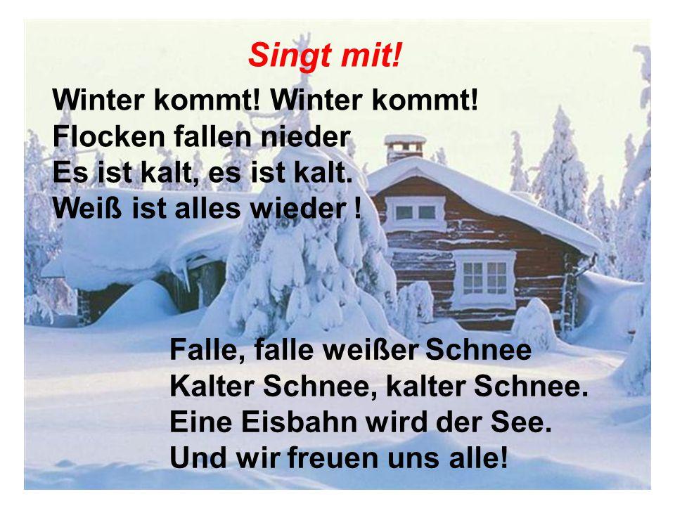 Singt mit! Winter kommt! Winter kommt! Flocken fallen nieder