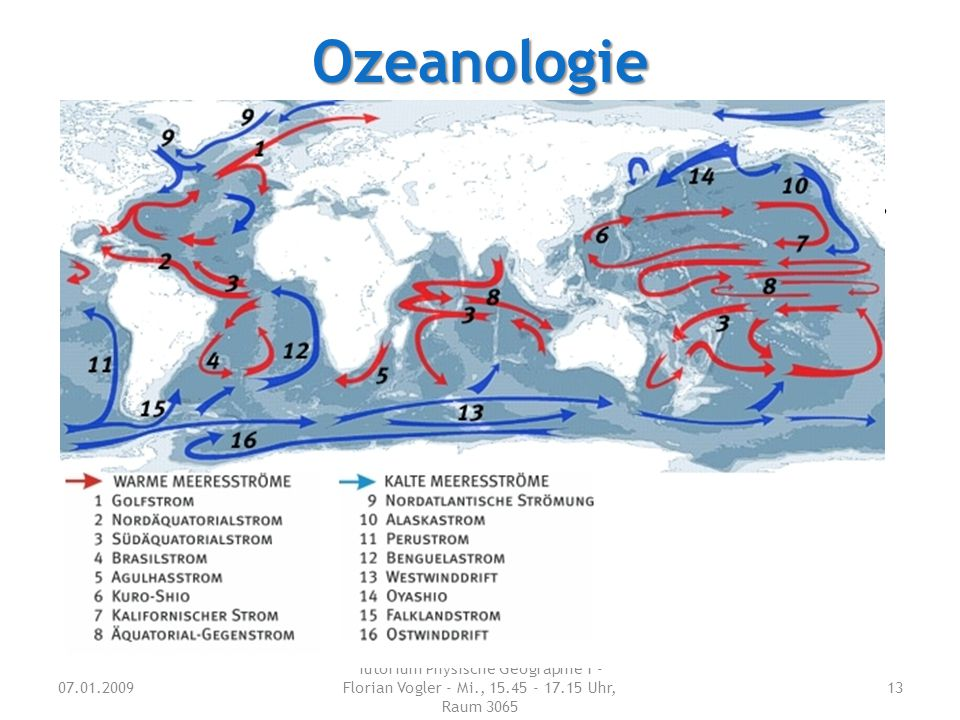 Ozeanologie Nenne vier wichtige große Meeresströme.