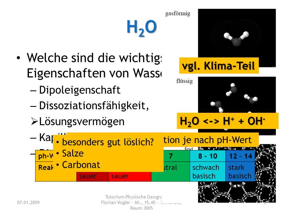 H2O Welche sind die wichtigsten Eigenschaften von Wasser