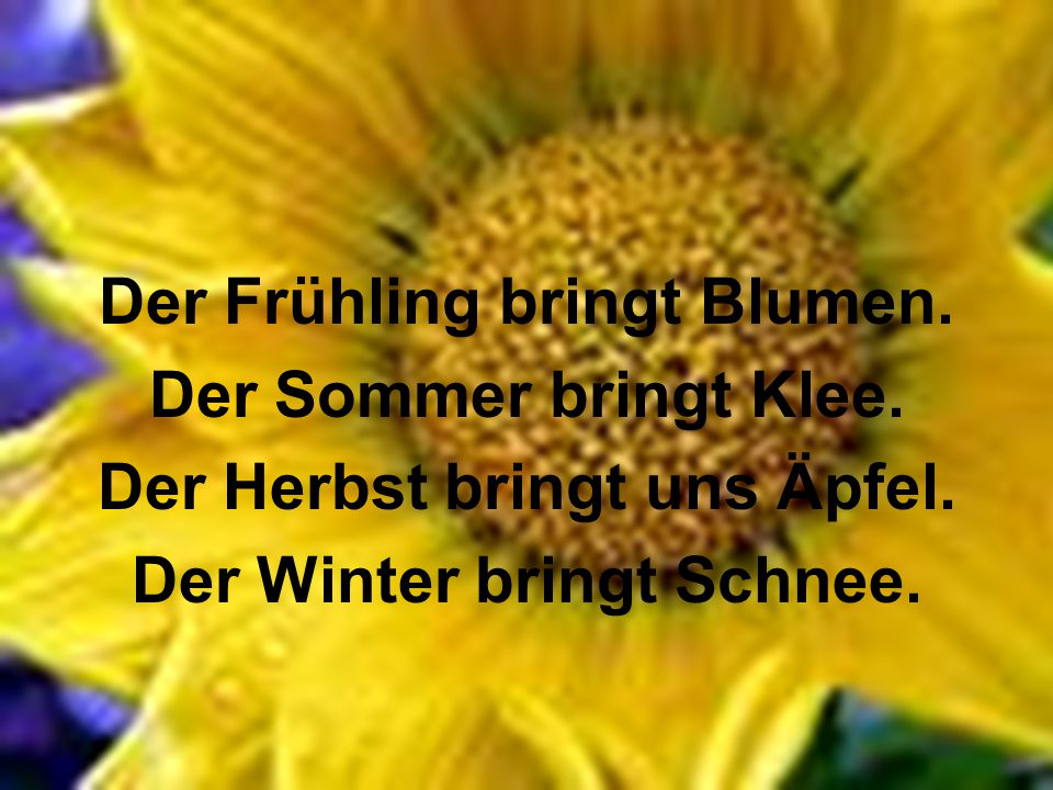 Der Frühling bringt Blumen. Der Sommer bringt Klee.