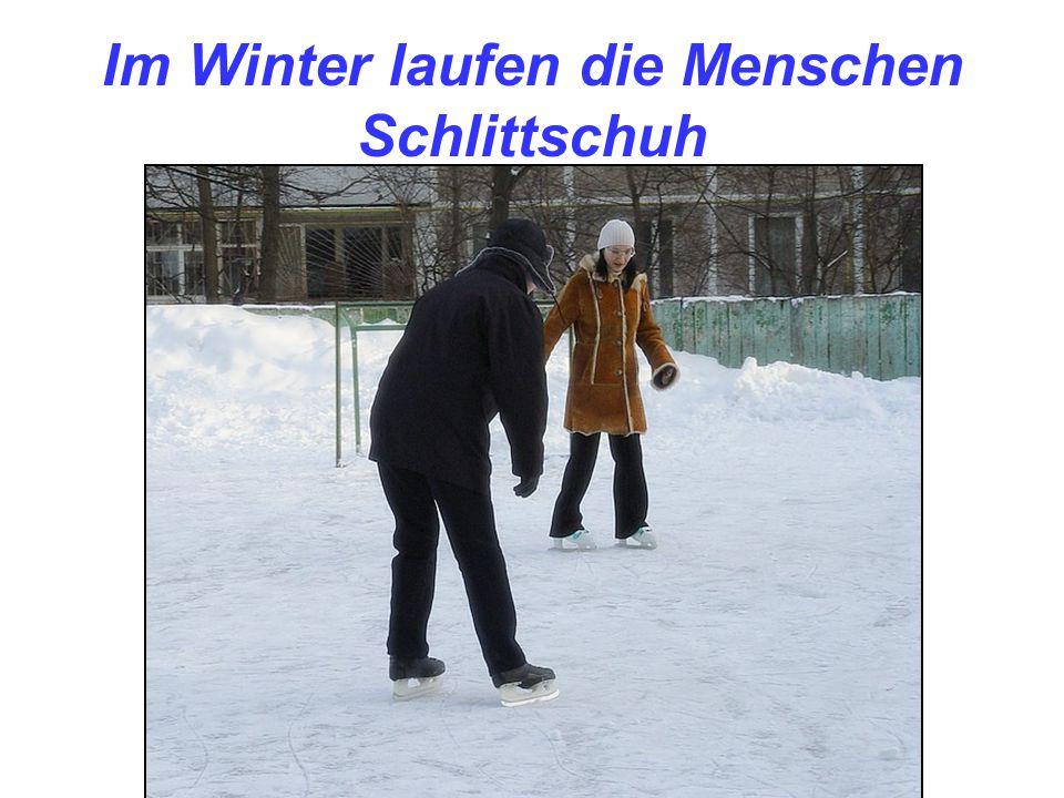 Im Winter laufen die Menschen Schlittschuh