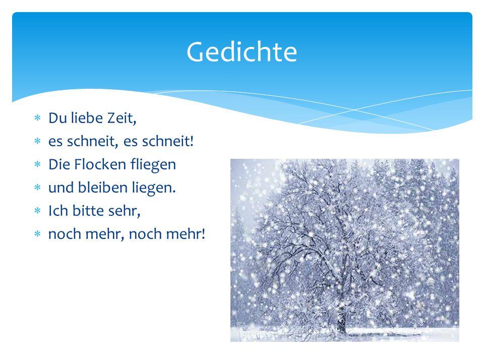 Gedichte Du liebe Zeit, es schneit, es schneit! Die Flocken fliegen