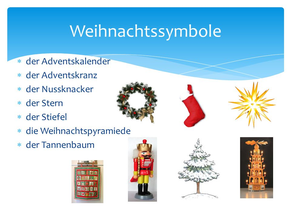 Weihnachtssymbole der Adventskalender der Adventskranz der Nussknacker
