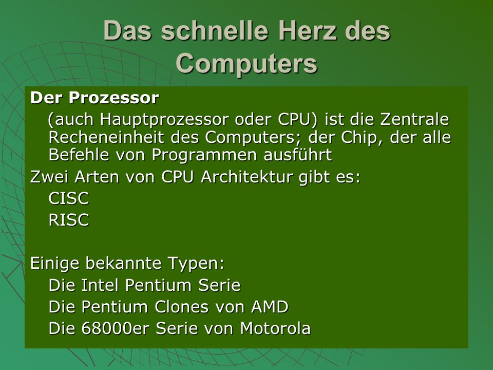 Das schnelle Herz des Computers