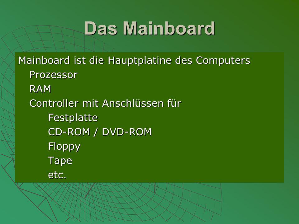 Das Mainboard Mainboard ist die Hauptplatine des Computers Prozessor