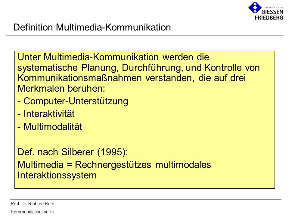Definition Multimedia-Kommunikation