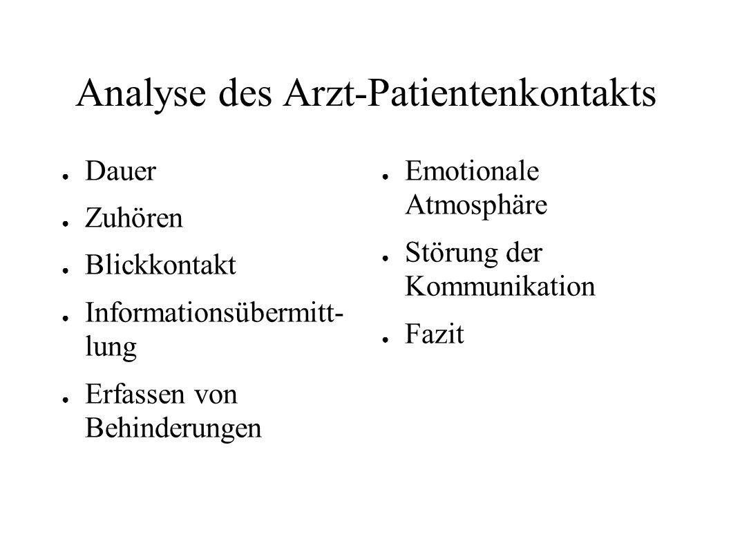 Analyse des Arzt-Patientenkontakts