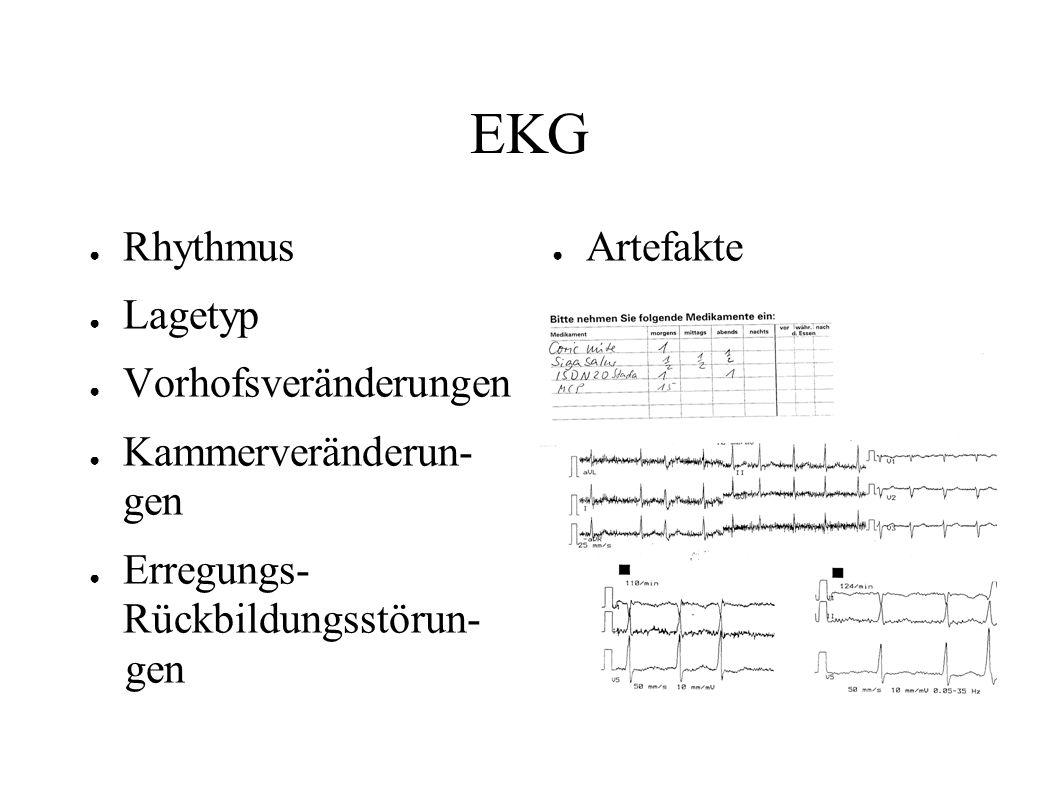 EKG Rhythmus Lagetyp Vorhofsveränderungen Kammerveränderun- gen