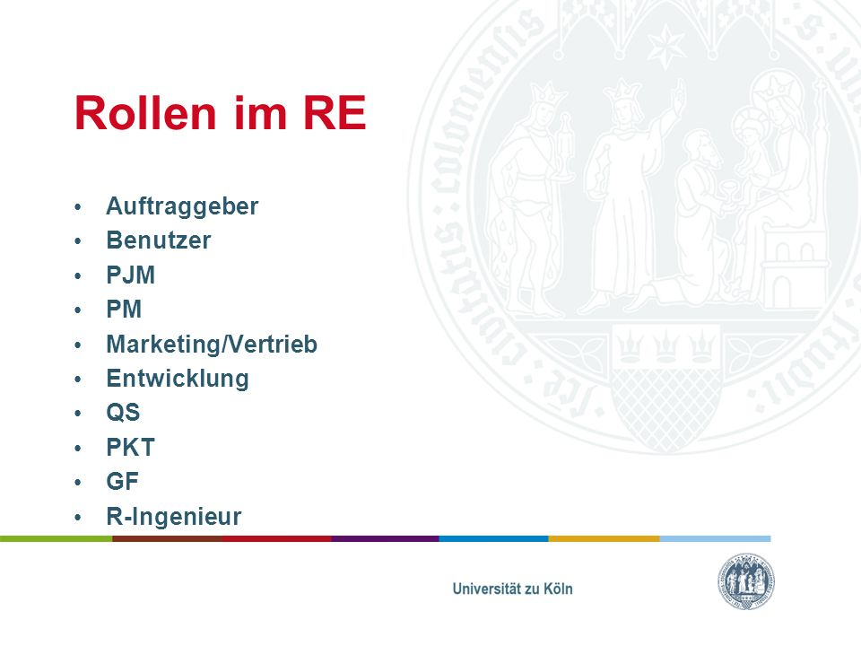 Rollen im RE Auftraggeber Benutzer PJM PM Marketing/Vertrieb