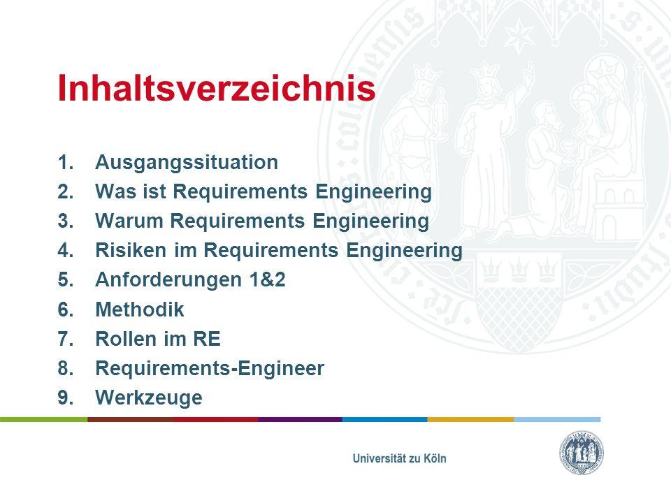 Inhaltsverzeichnis Ausgangssituation Was ist Requirements Engineering
