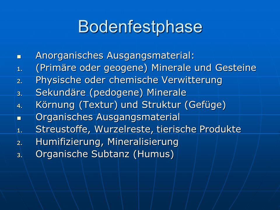 Bodenfestphase Anorganisches Ausgangsmaterial: