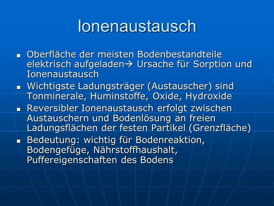Ionenaustausch Oberfläche der meisten Bodenbestandteile elektrisch aufgeladen Ursache für Sorption und Ionenaustausch.