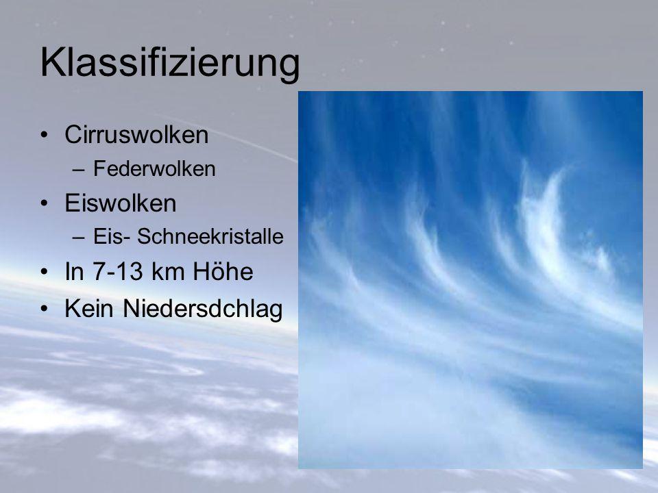 Klassifizierung Cirruswolken Eiswolken In 7-13 km Höhe