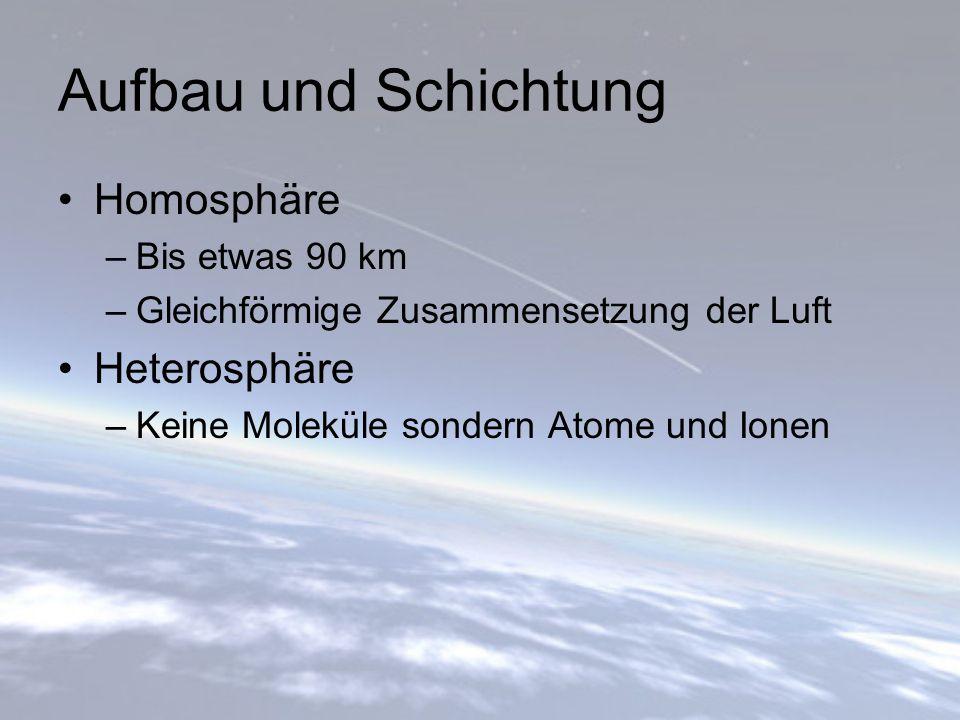 Aufbau und Schichtung Homosphäre Heterosphäre Bis etwas 90 km