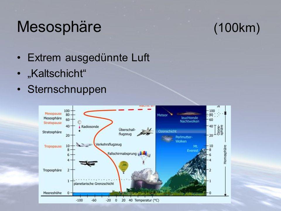 """Mesosphäre (100km) Extrem ausgedünnte Luft """"Kaltschicht"""