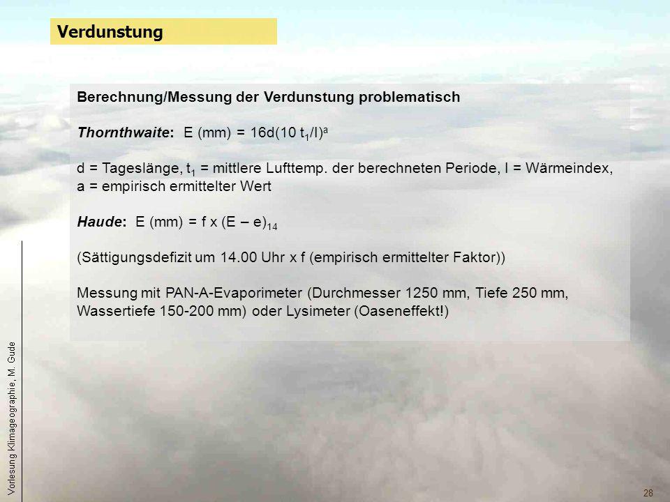 Verdunstung Berechnung/Messung der Verdunstung problematisch
