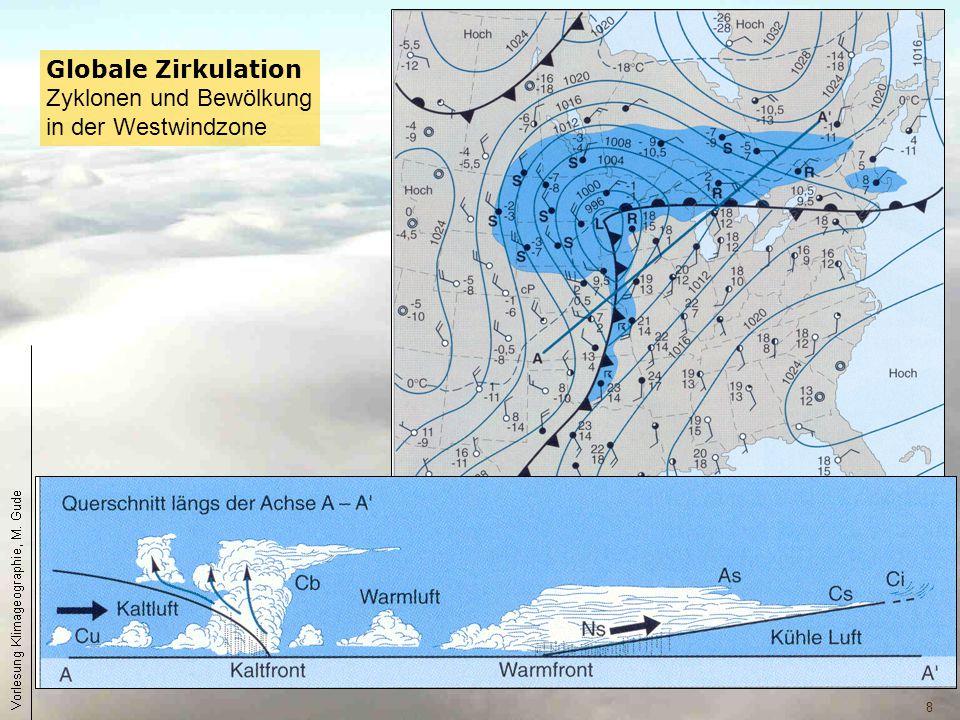 Globale Zirkulation Zyklonen und Bewölkung in der Westwindzone