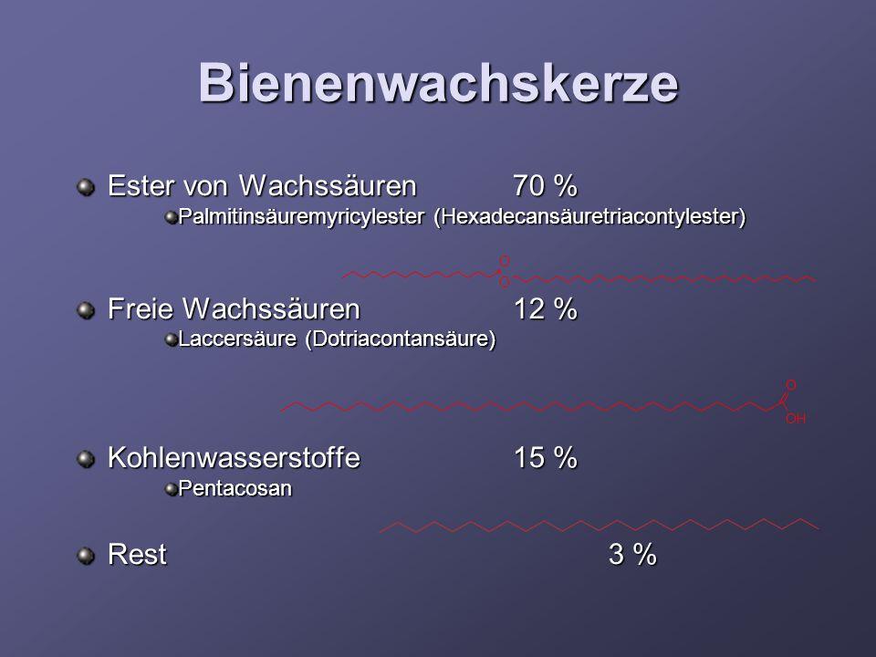 Bienenwachskerze Ester von Wachssäuren 70 % Freie Wachssäuren 12 %