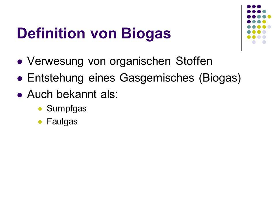 Definition von Biogas Verwesung von organischen Stoffen