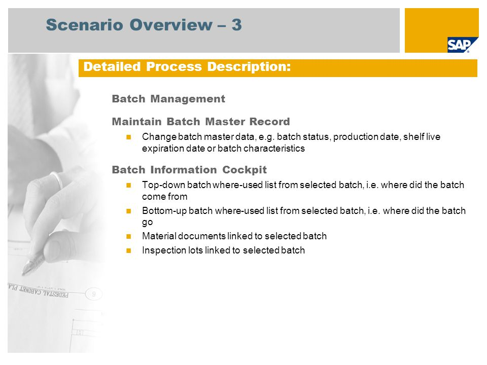 Scenario Overview – 3 Detailed Process Description: Batch Management
