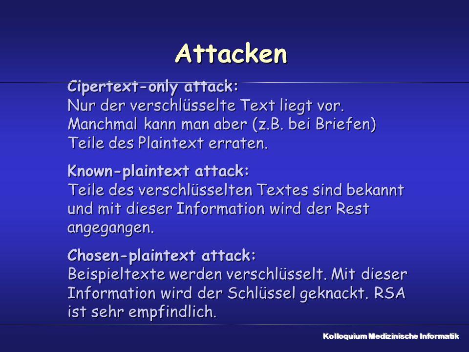 Attacken Cipertext-only attack: Nur der verschlüsselte Text liegt vor. Manchmal kann man aber (z.B. bei Briefen) Teile des Plaintext erraten.
