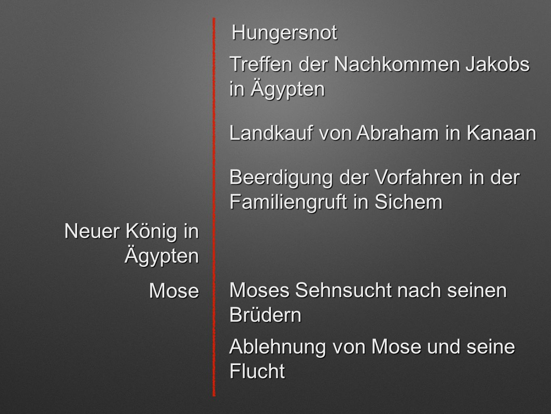 Hungersnot Treffen der Nachkommen Jakobs in Ägypten. Landkauf von Abraham in Kanaan. Beerdigung der Vorfahren in der Familiengruft in Sichem.