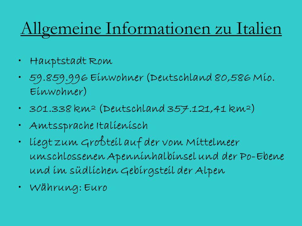 Allgemeine Informationen zu Italien
