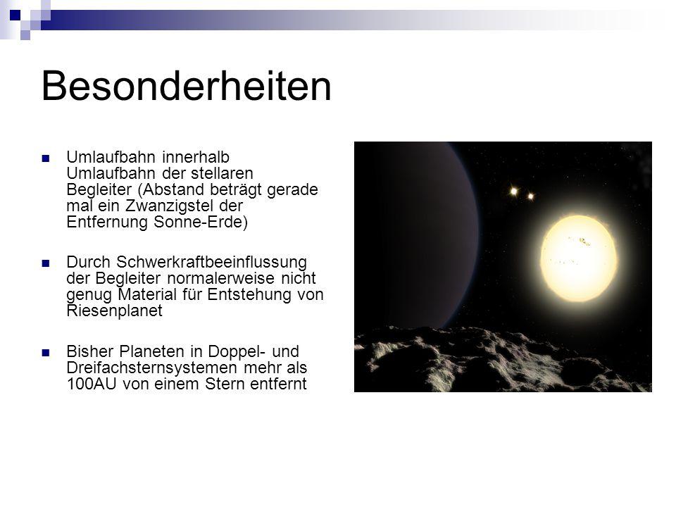 Besonderheiten Umlaufbahn innerhalb Umlaufbahn der stellaren Begleiter (Abstand beträgt gerade mal ein Zwanzigstel der Entfernung Sonne-Erde)