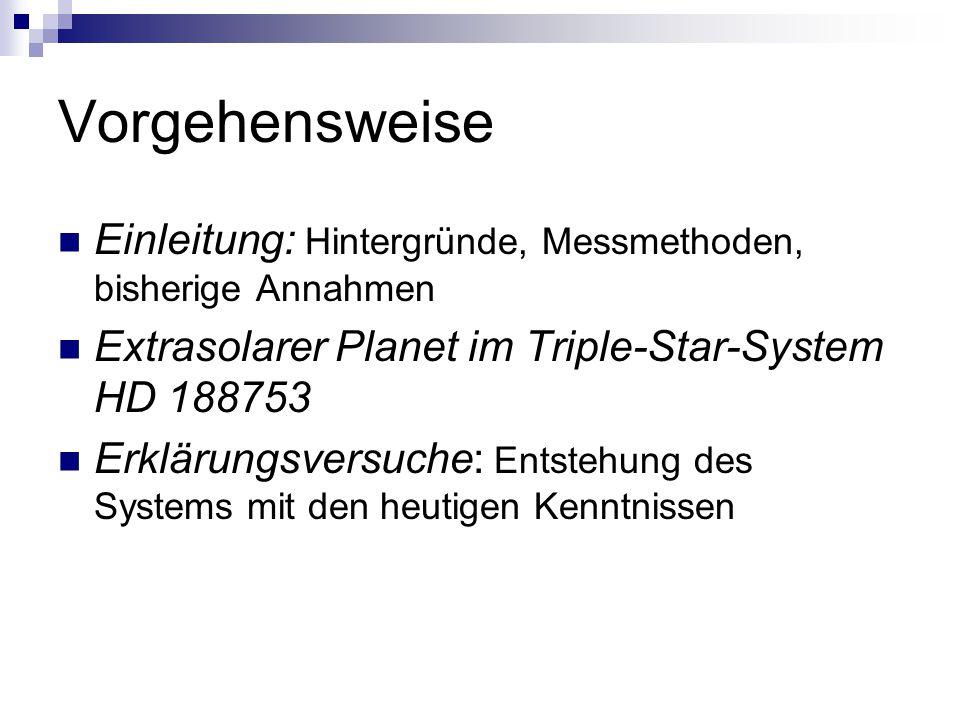 Vorgehensweise Einleitung: Hintergründe, Messmethoden, bisherige Annahmen. Extrasolarer Planet im Triple-Star-System HD 188753.