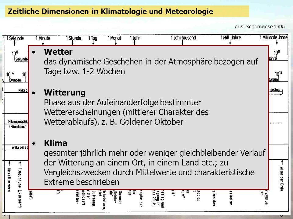 Zeitliche Dimensionen in Klimatologie und Meteorologie