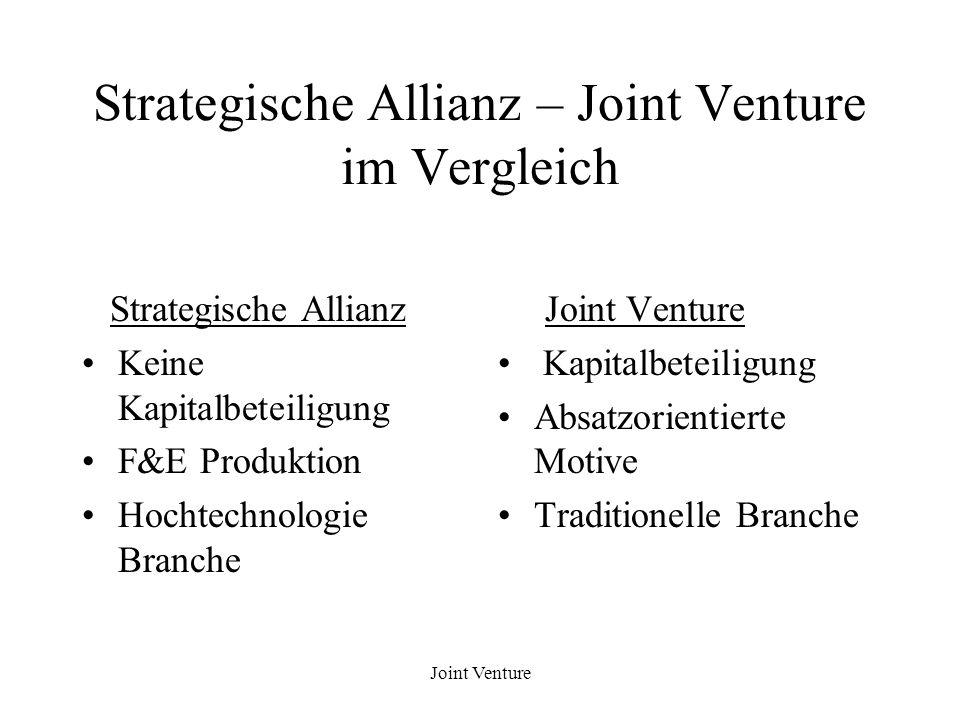 Strategische Allianz – Joint Venture im Vergleich