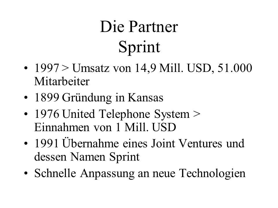 Die Partner Sprint 1997 > Umsatz von 14,9 Mill. USD, 51.000 Mitarbeiter. 1899 Gründung in Kansas.