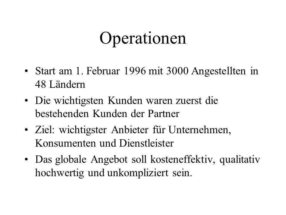 Operationen Start am 1. Februar 1996 mit 3000 Angestellten in 48 Ländern. Die wichtigsten Kunden waren zuerst die bestehenden Kunden der Partner.