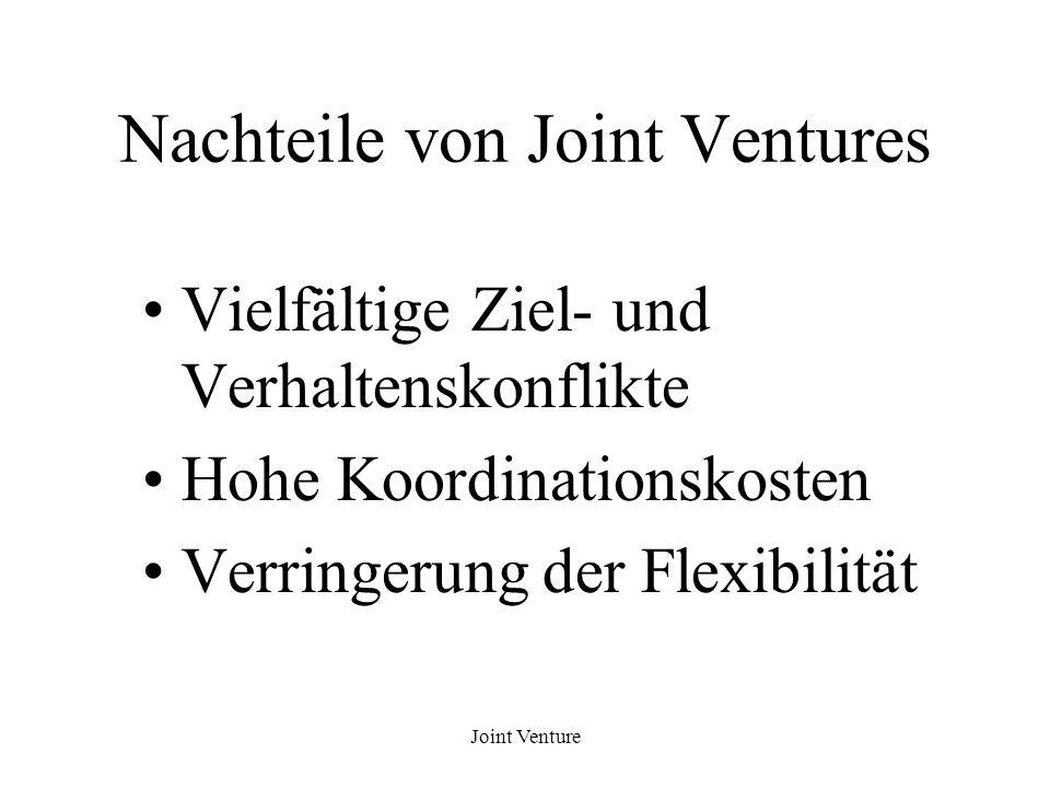 Nachteile von Joint Ventures