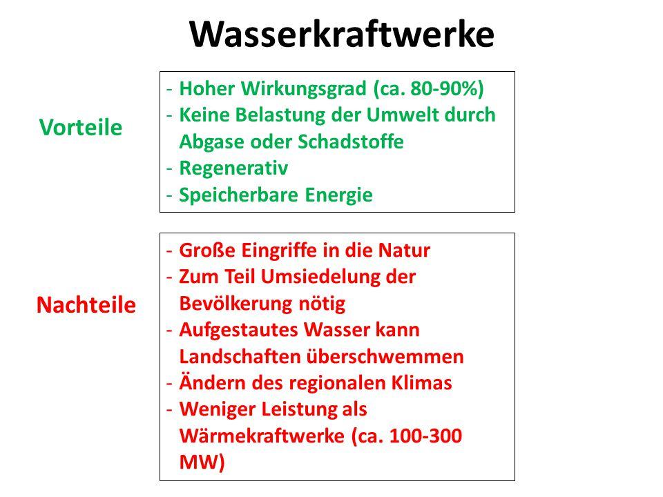Wasserkraftwerke Vorteile Nachteile Hoher Wirkungsgrad (ca. 80-90%)