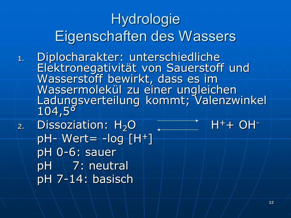 Hydrologie Eigenschaften des Wassers