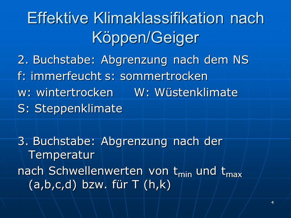 Effektive Klimaklassifikation nach Köppen/Geiger