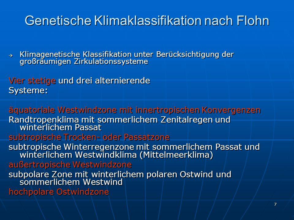 Genetische Klimaklassifikation nach Flohn