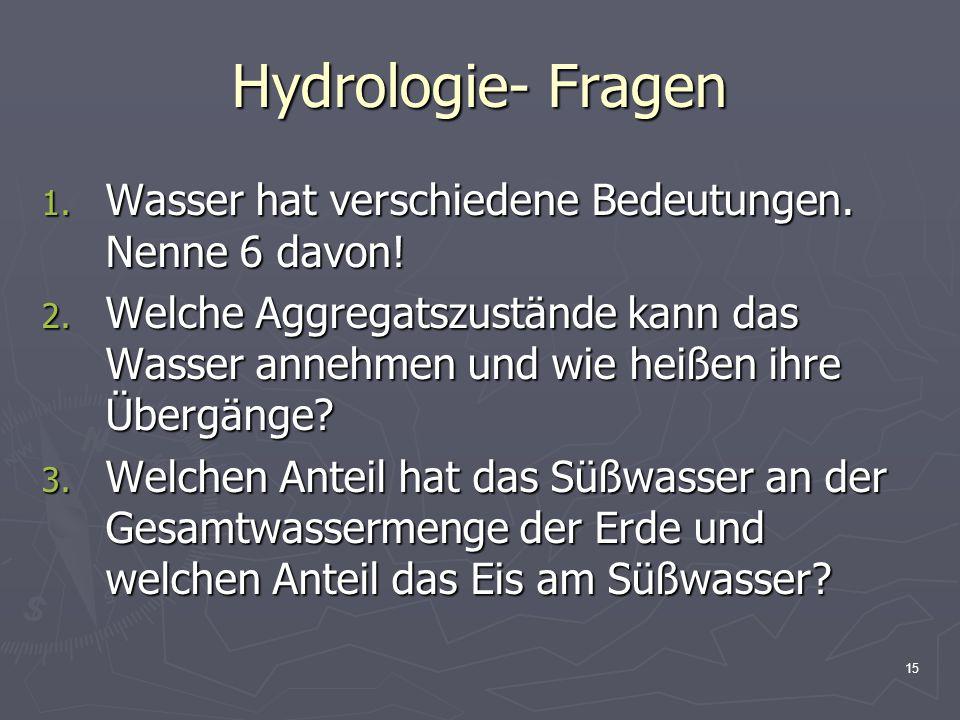 Hydrologie- Fragen Wasser hat verschiedene Bedeutungen. Nenne 6 davon!