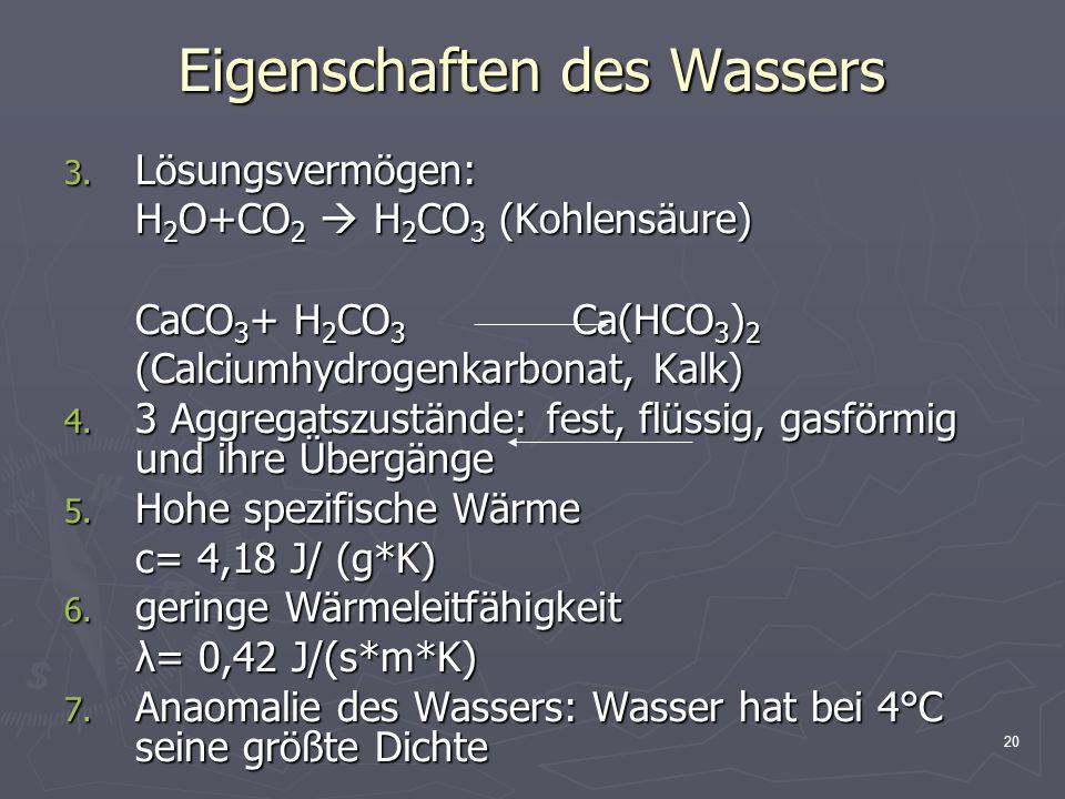 Eigenschaften des Wassers